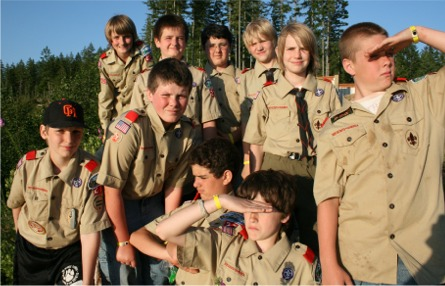 Scouts from Troop 27 at Camp Hahobas
