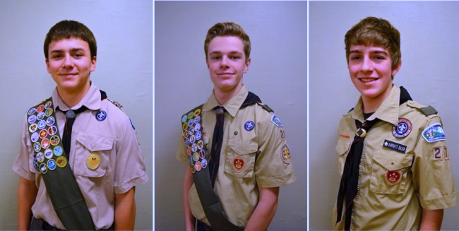 Eagle Scouts Daniel Crone, Ian Collins and Jarrett Siler